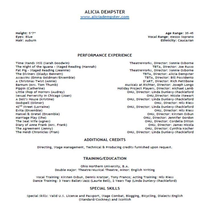 Performance Resume